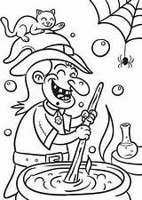 Coloring Halloween Witch Stew Print Witches sketch template