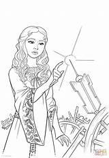 Coloring Wheel Spinning Aurora Princess Finger Pricks Drawing sketch template