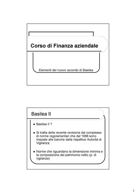 Finanza Aziendale Dispense by Basilea Ii Dispense