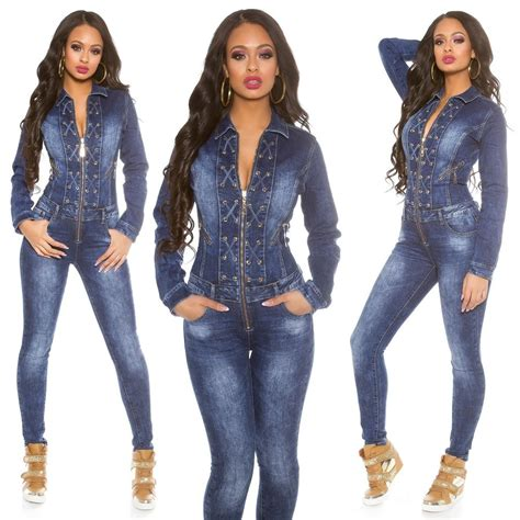 Womens Lace Up Long Sleeve Denim Jeans Jumpsuit Overall