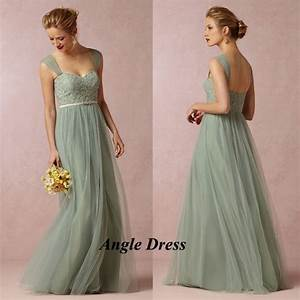 Cheap mint green bridesmaid dresses lace long wedding for Mint green wedding guest dress