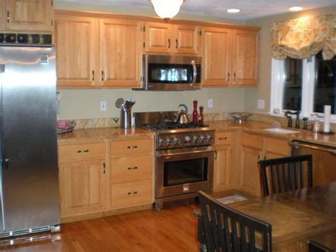 Bloombety  Yellow Kitchen Color Ideas With Oak Cabinets