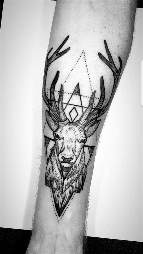 Stag tattoo on forearm. By Bonbon at Saigon Ink in Vietnam