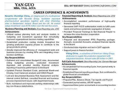 resume of financial reporting analyst yan guo financial analyst resume package