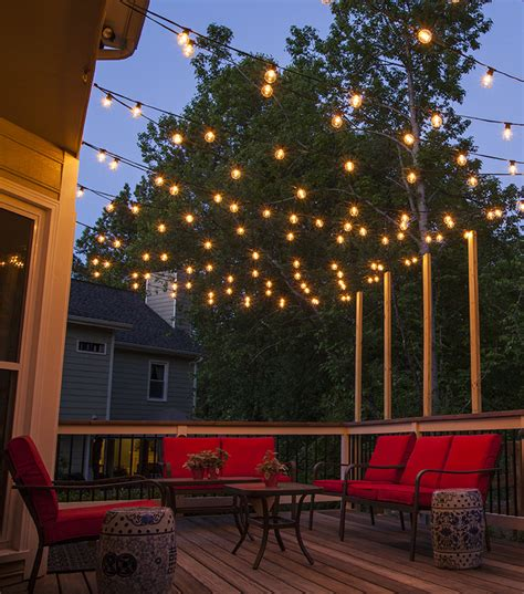 string lights over patio how to plan and hang patio lights