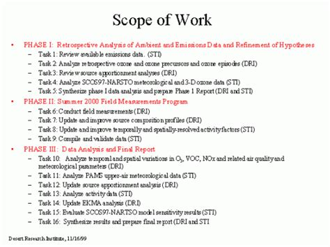 scope  work templates  sample templates