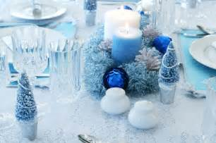tables sets blue christmas holiday centerpieces candles centerpieces winter wonderland