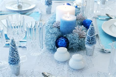 tables sets blue christmas holiday centerpieces candles