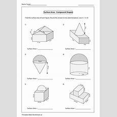 Surface Area  Compound Shapes Worksheet Printable Pdf Download
