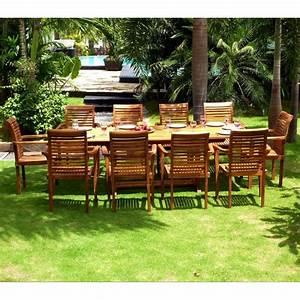 Salon Jardin Teck : salon de jardin grande table et fauteuils en teck huil wood en stock ~ Teatrodelosmanantiales.com Idées de Décoration