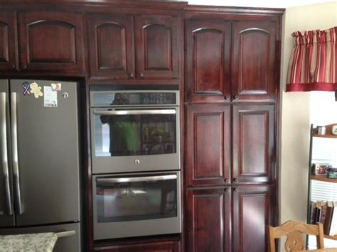 red oak kitchen cabinets  ge slate appliances google
