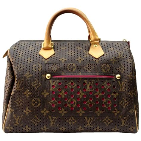 louis vuitton limited edition fuchsia perforated speedy  bag  stdibs