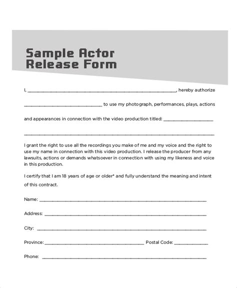 sample contract release form  examples  word