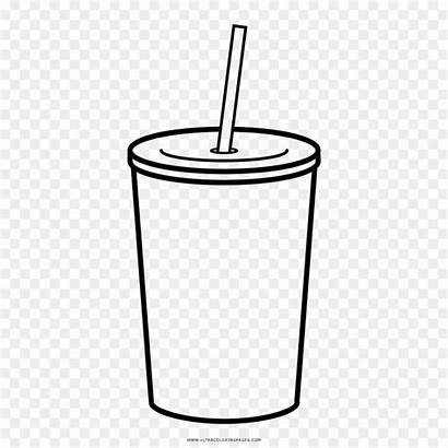 Vaso Clipart Drawing Juice Coloring Straw Cup