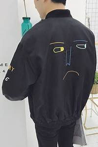 Wall Measuring Chart Oversize Embroidery Sad Face Graphic Pattern Long Sleeve