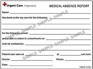 urgent care doctors note template urgent care doctors note template images template design ideas