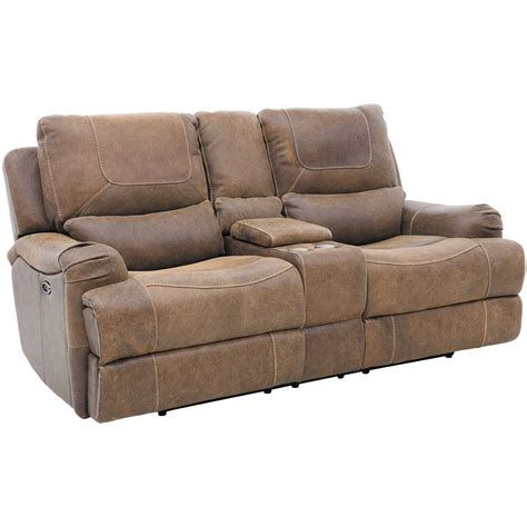 Leather Loveseat Recliner With Console by Leather Power Reclining Console Loveseat 1d