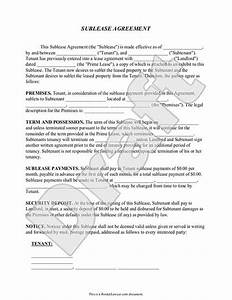 sublease agreement form sublet contract template with With vehicle sublease agreement template