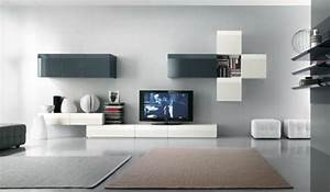 le meuble suspendu de salon decore et modernise le salon With meuble salon noir et blanc