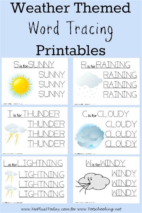 weather themed worksheets for preschoolers weather themed word tracing printables me plus 3 today