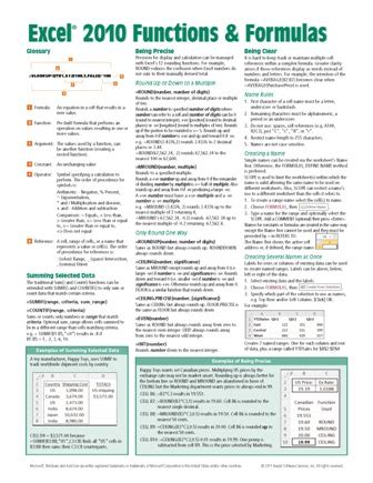 excel 2010 quick reference guide card cheat sheet beezix