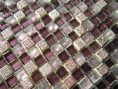 "5/8"" x 5/8"" Frosted Purple Glass and Resin Mix Mosaic"