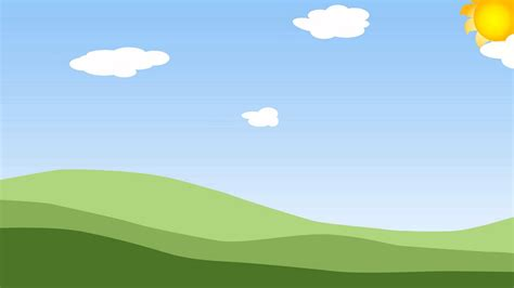 Sky Animated Wallpaper - animated clouds on a blue sky with green grass