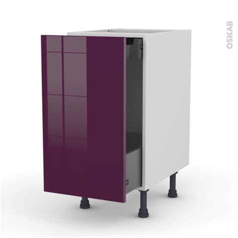 meuble de cuisine aubergine meuble de cuisine bas coulissant keria aubergine 1 porte 1 tiroir à l 39 anglaise l40 x h70 x p58
