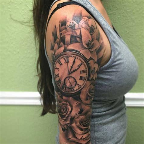 grey rose flowers  clock tattoo    sleeve