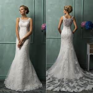 robe mariage vintage 2015 amelia sposa wedding dresses with scoop sheer back covered button mermaid court lace