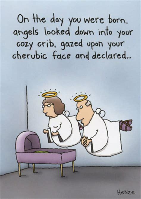 angels  crib funny humorous birthday card  oatmeal