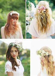 Couronne De Fleurs Cheveux Mariage : des id es coiffures pour la mari e aux cheveux longs blog mariage petit mariage entre amis ~ Farleysfitness.com Idées de Décoration