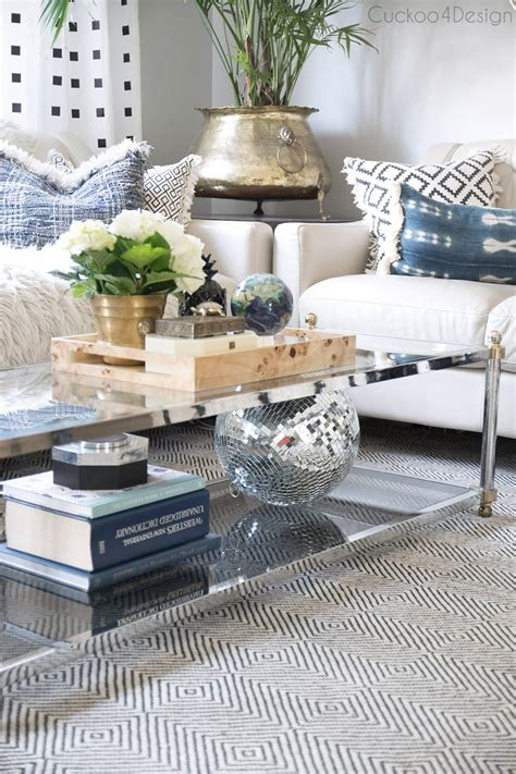 Grey faux marble coffee table set. How to style a two-tier coffee table | Cuckoo4Design