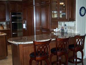 Custom, Kitchen, Cabinetry, With, Breakfast, Bar