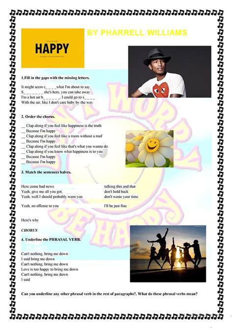 happy  pharrell williams worksheet  esl printable