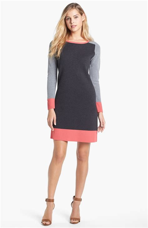 colored sweater dress eliza j colorblock shift sweater dress in pink grey pink