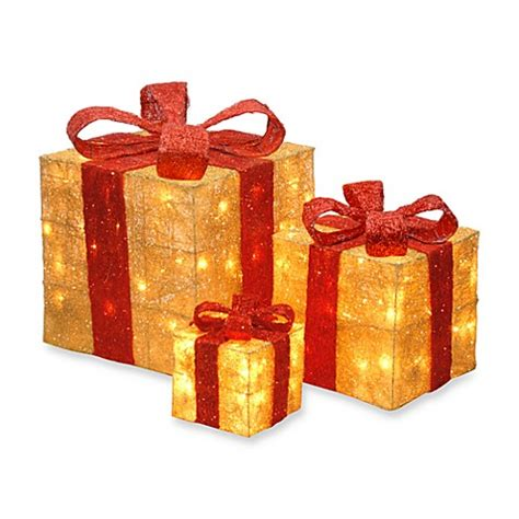 national tree company sisal pre lit gift boxes  goldred