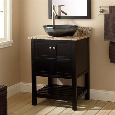 everett vessel sink vanity black bathroom