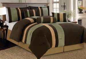 7 pc modern green brown comforter set micro suede queen size new