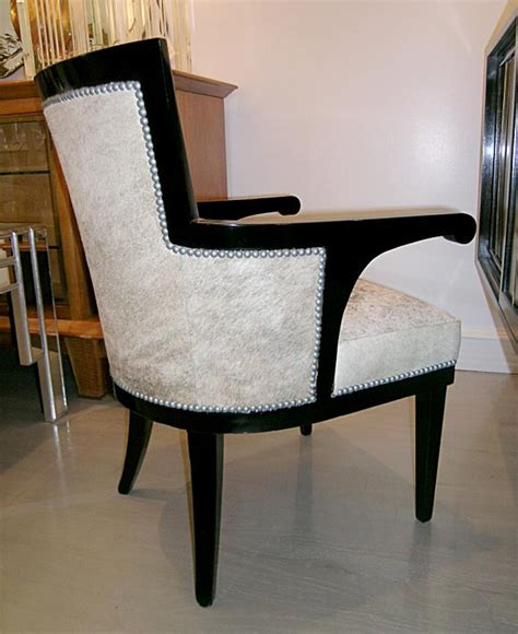Cowhide Club Chair by Pair Of Andre Groult Black Lacquer And Cowhide Club Chairs