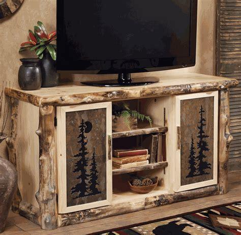 rustic tv stands aspen log natural slate tv console