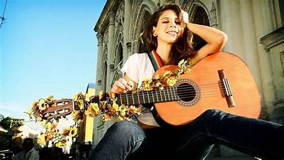 Guitar Playing Wallpapers Brunette Guitars Chica Cool