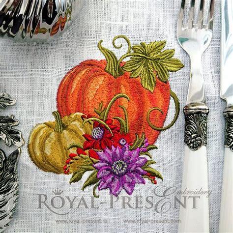 machine embroidery design elegant pumpkins  royal present