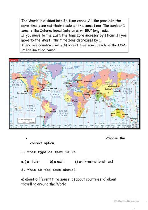 time zones worksheet free esl printable worksheets made