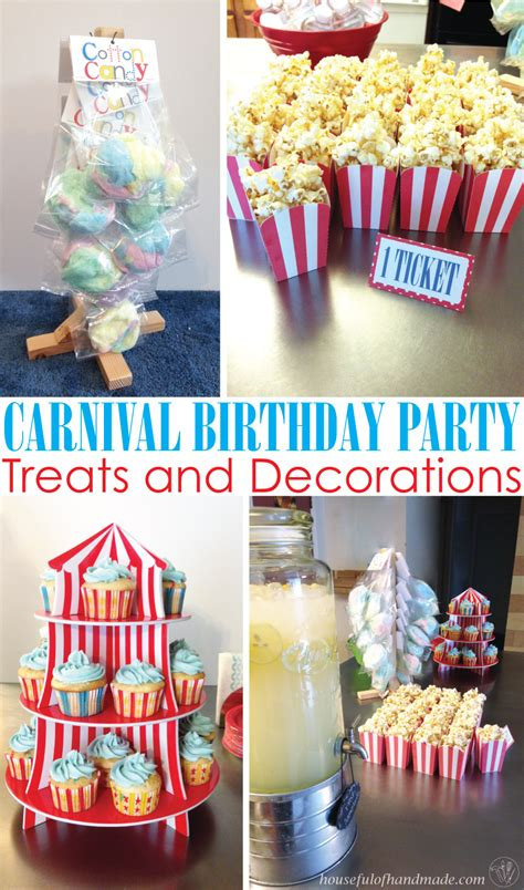 carnival birthday party part  treats decorations