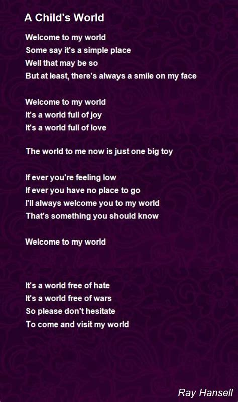 childs world poem  ray hansell poem hunter
