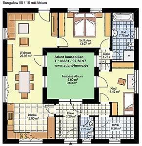 Atrium Bungalow Grundrisse : atriumbungalow quadrat 90 16 einfamilienhaus neubau massivbau stein auf stein ~ Bigdaddyawards.com Haus und Dekorationen