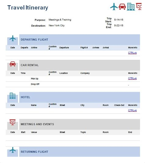 Travel Itinerary Templates by Free 5 Sle Travel Itinerary Templates In Pdf Word