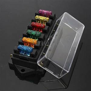 Universal Car Boat 6 Way Circuit Blade Fuse Box Holder Block   Free Fuse 12v  24v