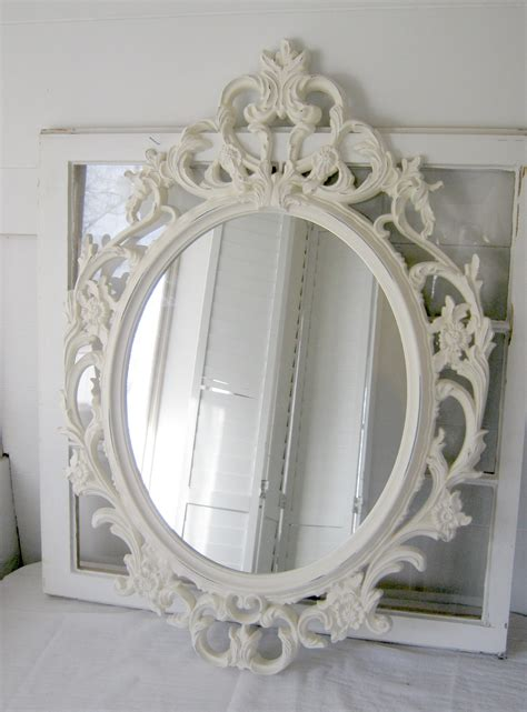 shabby chic mirror ornate antique white oval mirror antique white by peacockattic